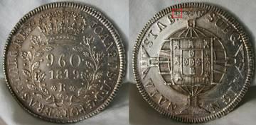 960 Reis 1819 brasileños acuñados sobre 8 Reales 1813 de Fernando VII LiKQR